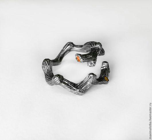 """Кольца ручной работы. Ярмарка Мастеров - ручная работа. Купить Кольцо """"Веточка малая"""" Сапфиры, серебро 925, чёрный родий, 14 размер. Handmade."""