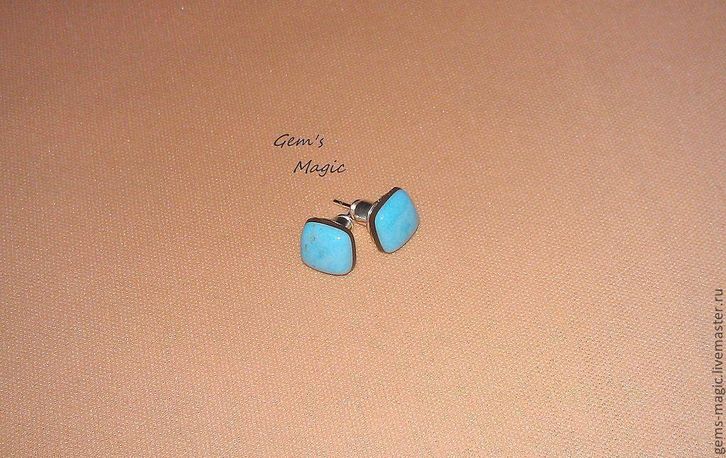 Earrings 'Geometry'-turquoise, Earrings, Moscow,  Фото №1