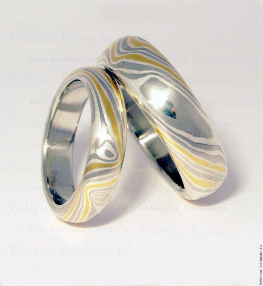 """Свадебные украшения ручной работы. Ярмарка Мастеров - ручная работа. Купить Обручальные кольца """"Платиновые"""". Handmade. Мокуме гане, серебро"""
