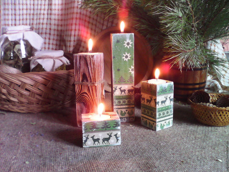 Новогодние подсвечники из дерева