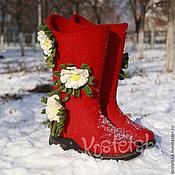 """Обувь ручной работы. Ярмарка Мастеров - ручная работа Валенки """"Любимая"""" красный мак валенки шерсть. Handmade."""
