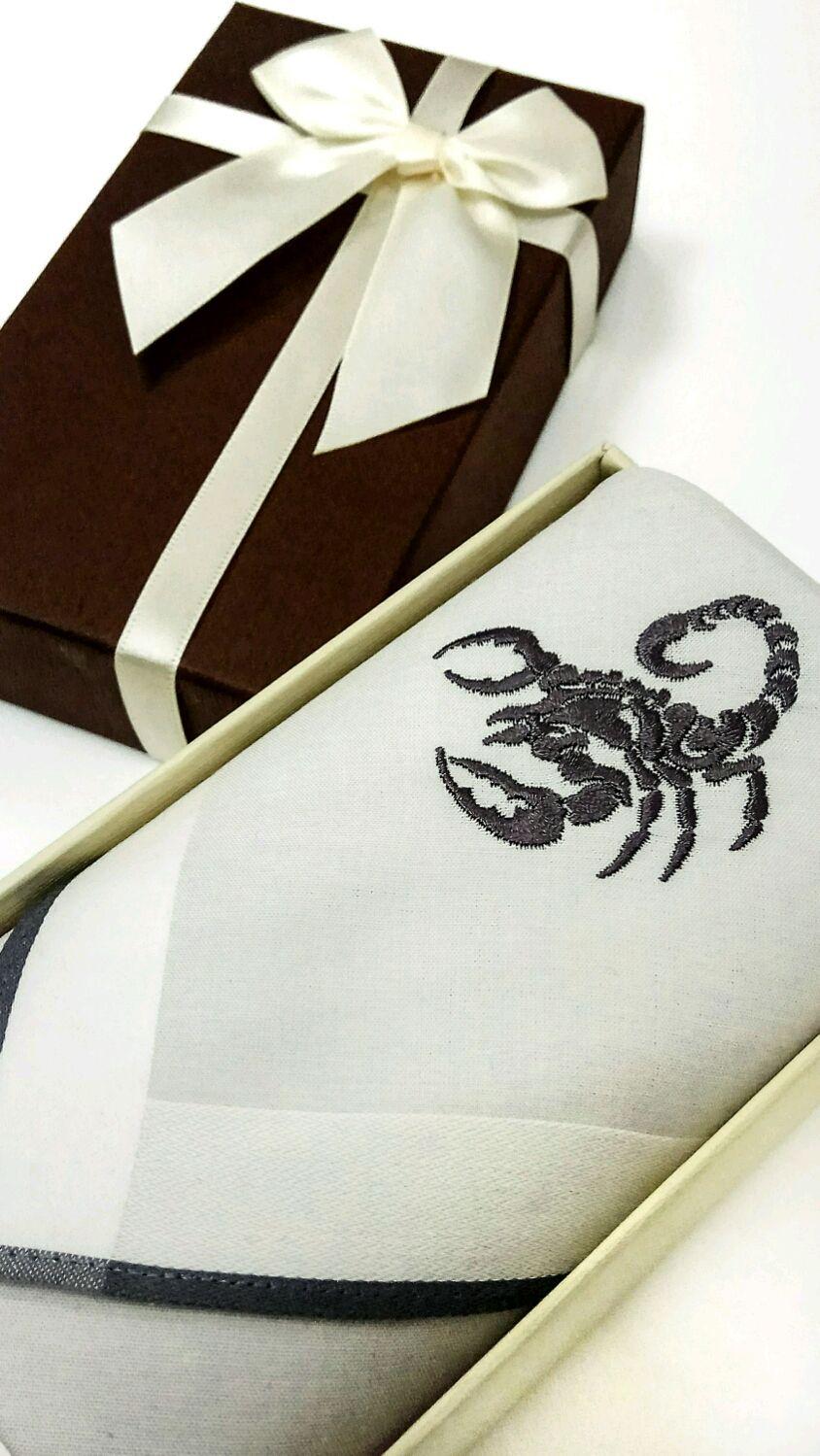 Носовой платок мужской с вышивкой Знаки зодиака, Платки, Москва,  Фото №1