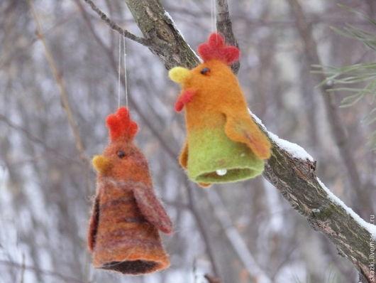 Новый год 2017 ручной работы. Ярмарка Мастеров - ручная работа. Купить Петушки, пальчиковые игрушки-колокольчики. Handmade. Салатовый, петух