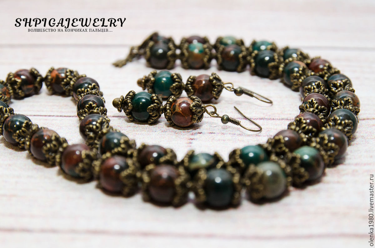 A set of Jasper. Beads made of Jasper. Earrings made of Jasper. Bronze