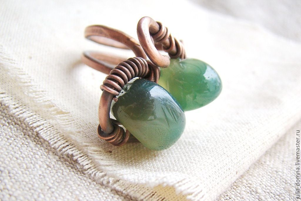 кольцо Зеленый Камень (медь, нефрит)