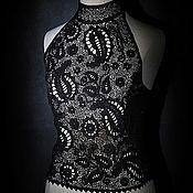 """Одежда ручной работы. Ярмарка Мастеров - ручная работа Кружевной топ """"Черный оникс"""". Handmade."""