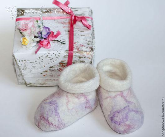 """Обувь ручной работы. Ярмарка Мастеров - ручная работа. Купить Пинетки валяные """"Первый бал"""". Handmade. Белый, пинетки в подарок"""