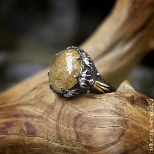 """Кольца ручной работы. Ярмарка Мастеров - ручная работа. Купить Кольцо """"Караван"""" с кварцем волосатиком. Handmade. Желтый, кольцо, индия"""