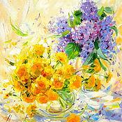 Картины и панно handmade. Livemaster - original item Oil painting on canvas. Sunny dandelions and lilacs.. Handmade.