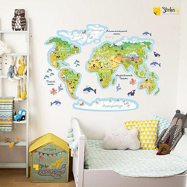 Для дома и интерьера ручной работы. Ярмарка Мастеров - ручная работа Живая карта мира наклейка в детскую комнату. Handmade.