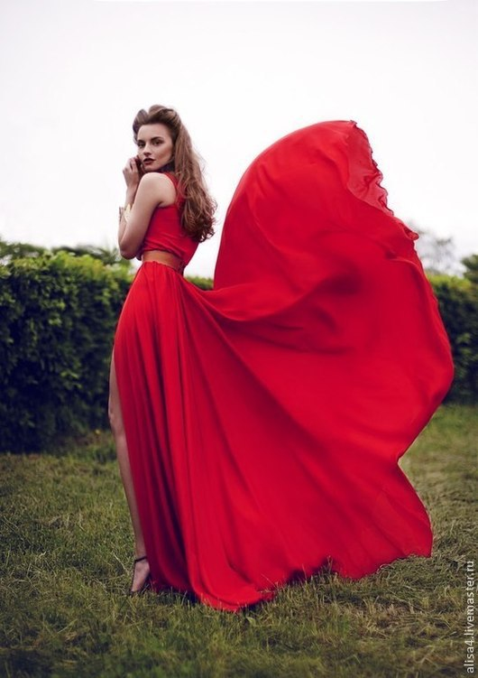 Платья ручной работы. Ярмарка Мастеров - ручная работа. Купить красное платье лучшая реплика ланвин. Handmade. Ярко-красный
