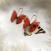 Украшения handmade. Livemaster - original item Copy of Silk Butterfly Earrings. Handmade.