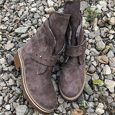 "Обувь ручной работы. Ярмарка Мастеров - ручная работа Ботинки ""Fashion бежевая замша"" беж подошва. Handmade."