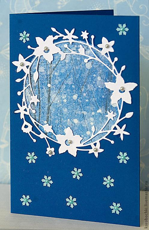 """Открытки к Новому году ручной работы. Ярмарка Мастеров - ручная работа. Купить Открытка """"Снежные узоры"""". Handmade. Синий, белый"""