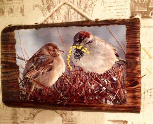 """Животные ручной работы. Ярмарка Мастеров - ручная работа. Купить Декоративное панно из дерева """"Уютное гнездышко"""". Handmade. Панно на стену"""
