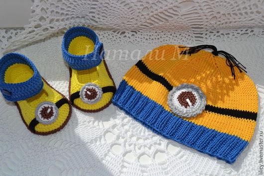 Для новорожденных, ручной работы. Ярмарка Мастеров - ручная работа. Купить Мультяшные туфельки. Handmade. Желтый, пинетки для девочки