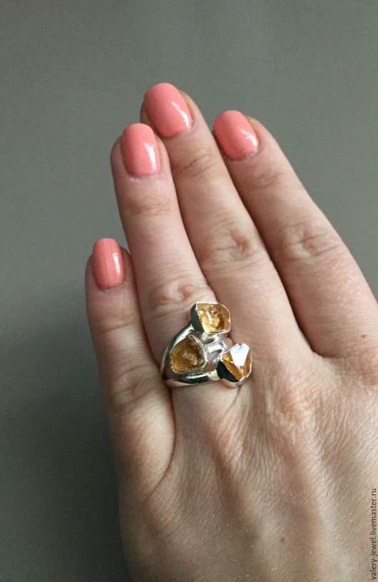 Кольца ручной работы. Ярмарка Мастеров - ручная работа. Купить Кольцо с натуральным желтым цитрином, размер 6 в серебре 925 пробы.. Handmade.