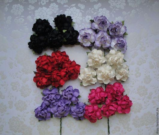Открытки и скрапбукинг ручной работы. Ярмарка Мастеров - ручная работа. Купить Розы 3,75 см 6 расцветок  1 штука. Handmade.