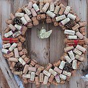 """Подарки к праздникам ручной работы. Ярмарка Мастеров - ручная работа эко-новогодний венок из пробок """"ангел,вино и шампанское"""". Handmade."""