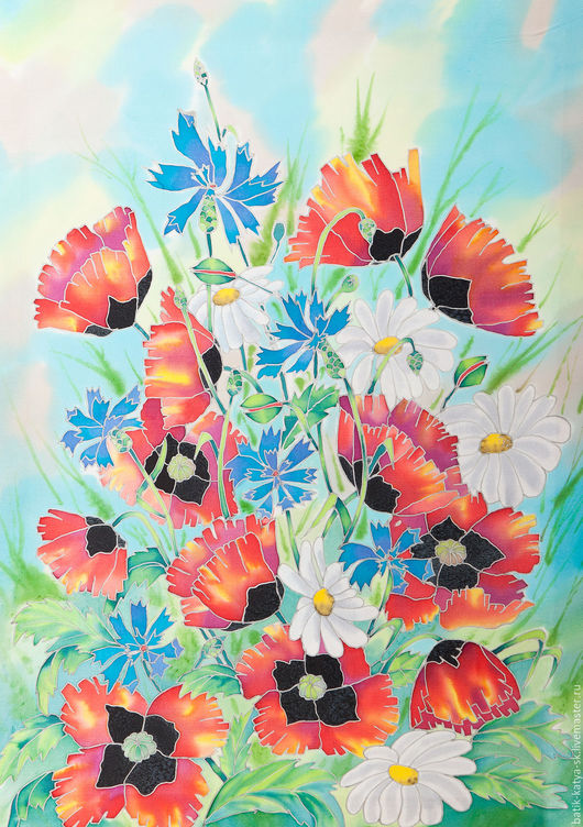 Картины цветов ручной работы. Ярмарка Мастеров - ручная работа. Купить Батик панно «Яркий букет» на шелке. Handmade. Батик