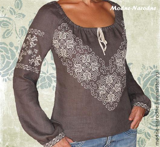 Блуза женская ДЫМКА Вышиванка женская Модные блузки Стиль бохо.  Модная одежда с ручной вышивкой. Творческое ателье Modne-Narodne.