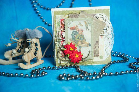 Открытки к Новому году ручной работы. Ярмарка Мастеров - ручная работа. Купить Новогодняя открытка. Handmade. Оливковый, винтаж