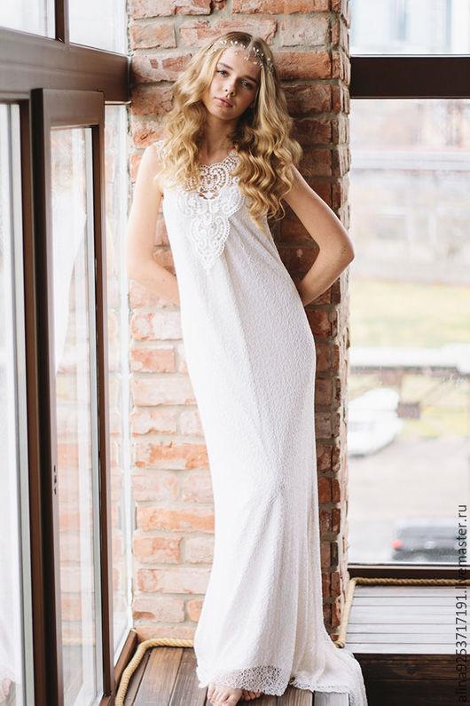 Одежда и аксессуары ручной работы. Ярмарка Мастеров - ручная работа. Купить свадебное платье с кружевной спиной. Handmade. Белый