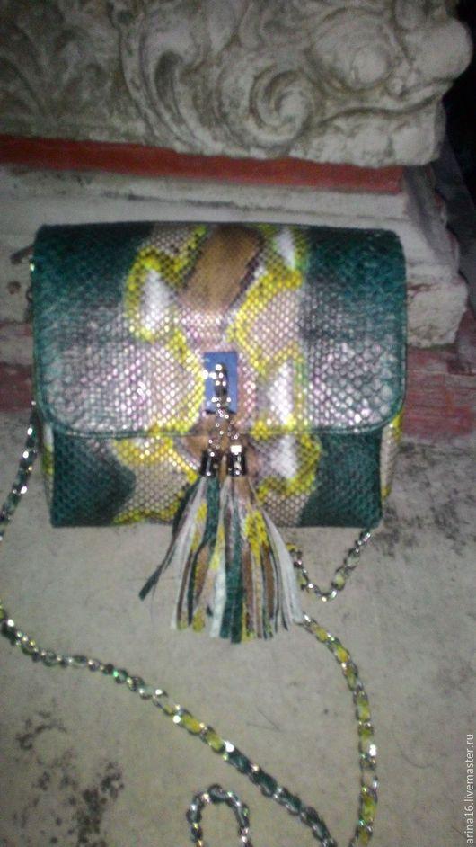 Женские сумки ручной работы. Ярмарка Мастеров - ручная работа. Купить сумочка из питона. Handmade. Комбинированный, сумка из питона, клатч