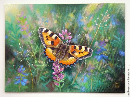 """Картины цветов ручной работы. Ярмарка Мастеров - ручная работа. Купить Картина """"Aglais urticae"""" бабочка зеленый цветы. Handmade."""