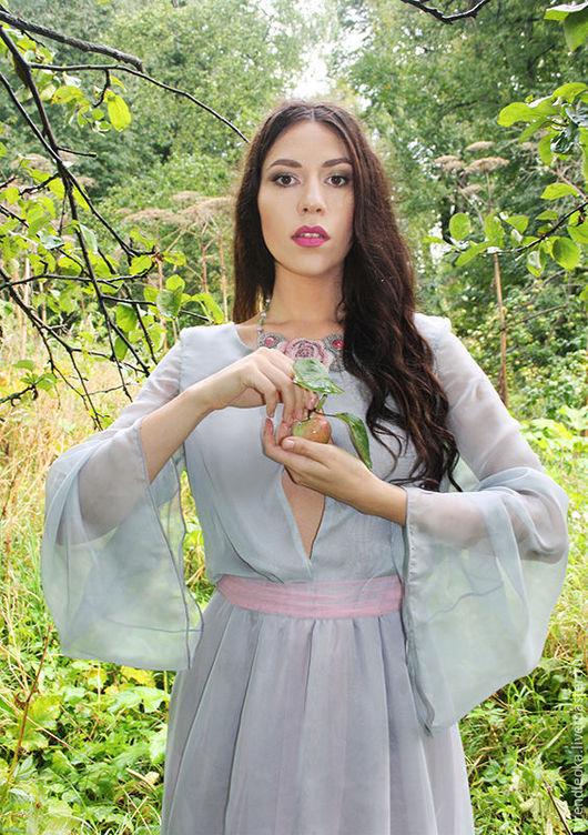 нарядное нежное шёлковое платье