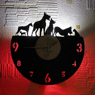 For home and interior handmade. Livemaster - original item Wall clock with LED backlight from dog vinyl record. Handmade.