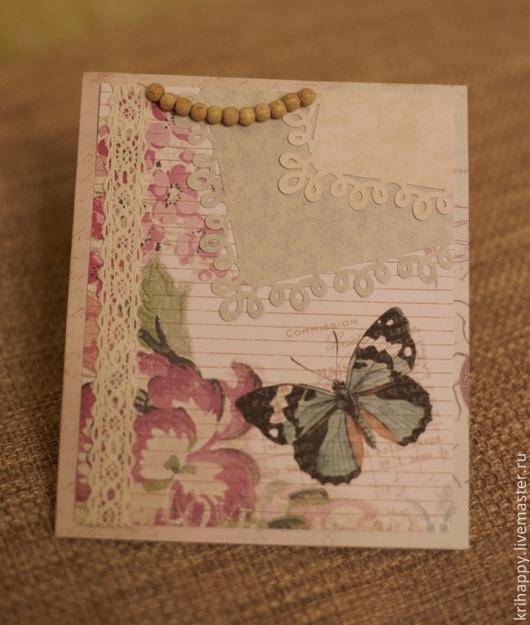 """Открытки для женщин, ручной работы. Ярмарка Мастеров - ручная работа. Купить Открытка для женщины """"Голубая бабочка"""". Handmade. Бежевый"""