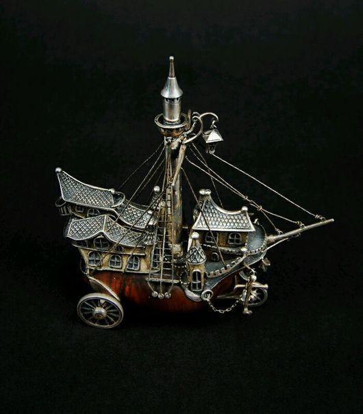 Подарки для мужчин, ручной работы. Ярмарка Мастеров - ручная работа. Купить Серебро, Корабль настольная композиция. Handmade. Сувениры и подарки
