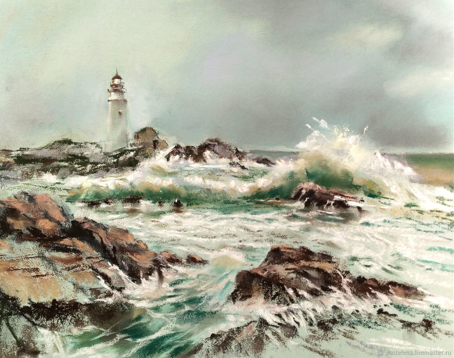 Pastel painting lighthouse winter (gray-green seascape gift), Pictures, ,  Фото №1