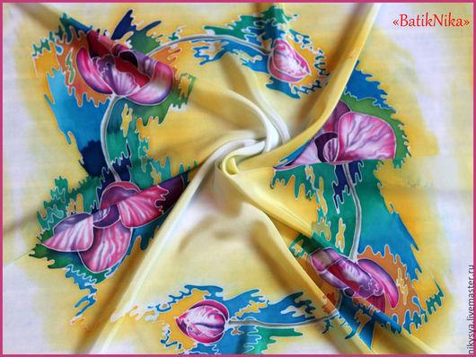 """Шали, палантины ручной работы. Ярмарка Мастеров - ручная работа. Купить Шелковый платок 90х90 см  батик """"Орхидеи"""". Handmade."""