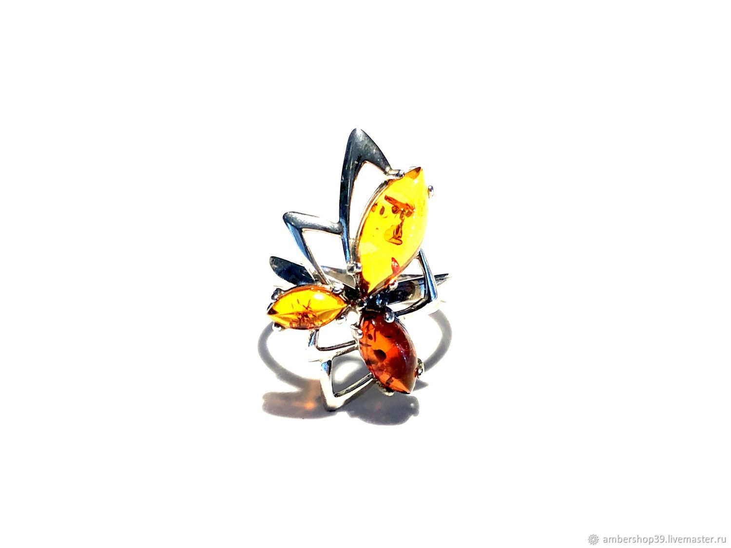 Ring with amber 'spark of happiness' , silver 925 PR, Rings, ,  Фото №1