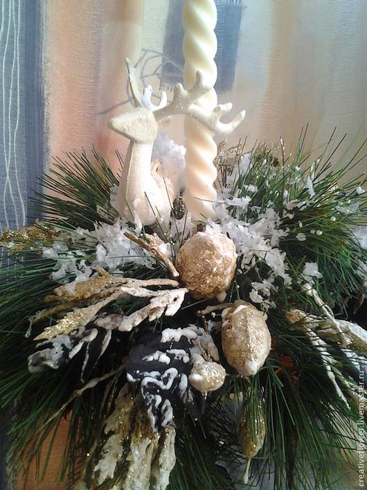Подсвечники ручной работы. Ярмарка Мастеров - ручная работа. Купить Подсвечник новогодний со свечой Морозная свежесть. Handmade. Свечи