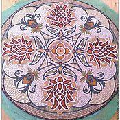 """Дизайн и реклама ручной работы. Ярмарка Мастеров - ручная работа Мозаичная розетка для пола """" Восточные мотивы""""Мрамор. Handmade."""