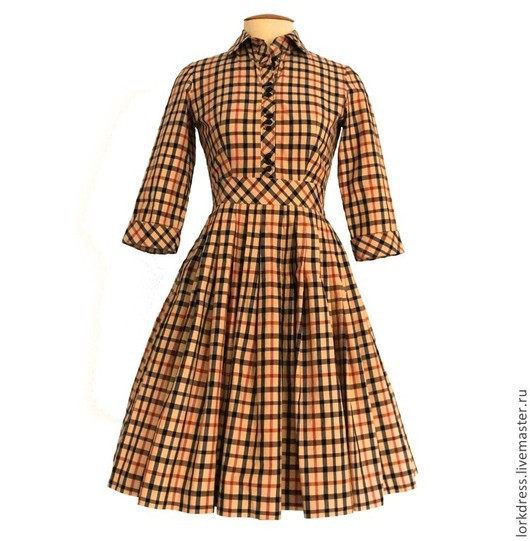Платья ручной работы. Ярмарка Мастеров - ручная работа. Купить Платье из итальянского хлопка. Handmade. Бежевый, платье, до колен, в складку