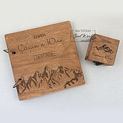 Свадебный салон handmade. Livemaster - original item Set No. 17. The book of wishes jewelry box for rings. Mountains. Handmade.
