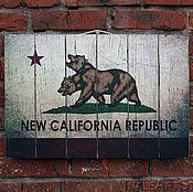 Картины и панно handmade. Livemaster - original item Fallout NCR Flag Picture on wood Wood wall hanging. Handmade.