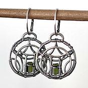 "Earrings handmade. Livemaster - original item ""Pagoda"" - Sterling silver Earrings with Tourmaline. Handmade."