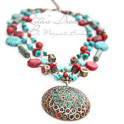 Украшения handmade. Livemaster - original item Boho necklace with coral and turquoise, multi-row necklace with pendant, ethnic.. Handmade.