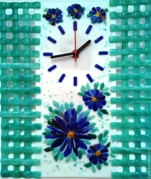 """Часы для дома ручной работы. Ярмарка Мастеров - ручная работа. Купить Часы """"Весна пришла"""" фьюзинг. Handmade. Бирюзовый, весна"""