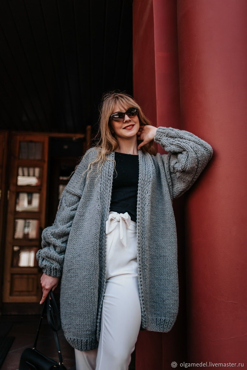 cardigans: Grey cardigan for every day in the size of an oversize, Cardigans, Yoshkar-Ola,  Фото №1