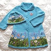 """Работы для детей, ручной работы. Ярмарка Мастеров - ручная работа Кофточка-пальто с шапочкой """"Полевые цветы """". Handmade."""