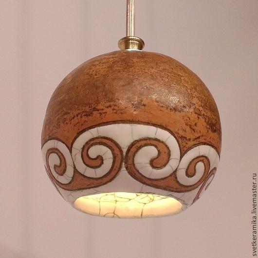 Освещение ручной работы. Ярмарка Мастеров - ручная работа. Купить Керамический светильник «Завитушки на шарике». Handmade. Керамический плафон