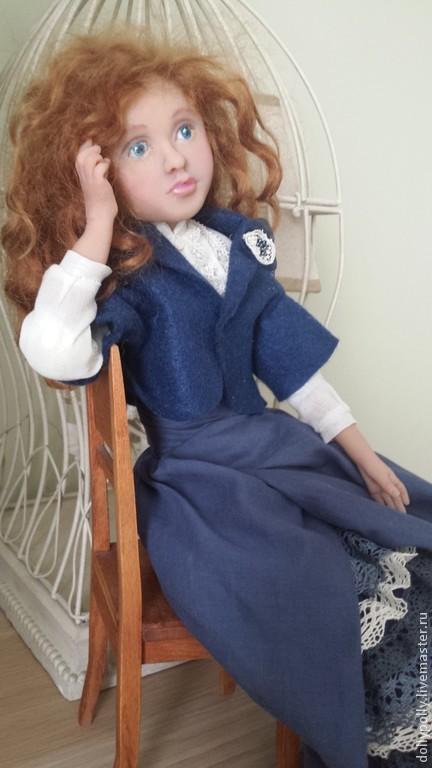 Коллекционные куклы ручной работы. Ярмарка Мастеров - ручная работа. Купить Лаура. Handmade. Тёмно-синий, фатин