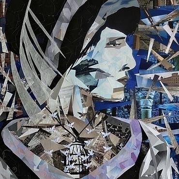 Картины и панно ручной работы. Ярмарка Мастеров - ручная работа Картина в технике коллаж Анна Ахматова. Handmade.