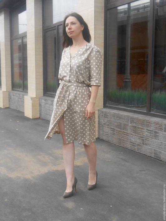 Платья ручной работы. Ярмарка Мастеров - ручная работа. Купить Льняное платье рубашка в горошек. Handmade. В горошек